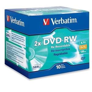 Verbatim 94918 DVD Rewritable Media - DVD-RW - 2x - 4.70 GB - 10 Pack Jewel Case VER94918