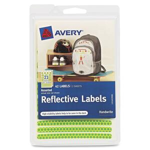 Avery Reflective Labels 40199, Green and Orange, Assorted Shapes AVE40199