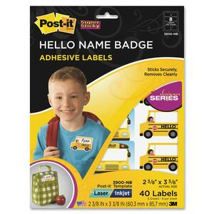 Post-it Super Sticky Hello Name Badge Labels MMM3900NB