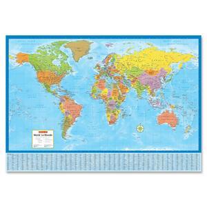 Laminated Bilingual World Wall Map