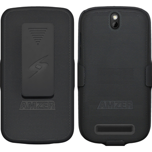 Amzer Shellster Carrying Case (Holster) for Smartphone - Black - Impact Resistance - Polycarbonate