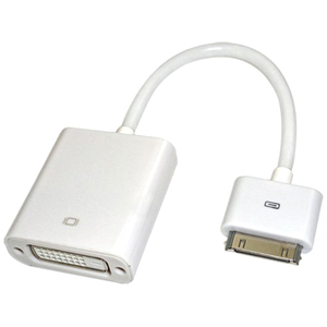 4XEM Apple 30 Pin Connector to DVI Female Adapter Cable - Proprietary/DVI for Video Device, TV, Monitor, iPad, iPhone, Projector, iPod - 7.08&quot; - 1 x DVI Female Video - 1 x Male Proprietary Connector - White