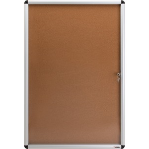 Lorell Enclosed Cork Bulletin Boards - 36 Height X 24 Width - Natural Cork Surface - Lock, Resilient, Durable, Self-healing - Aluminum Frame - 1 Each