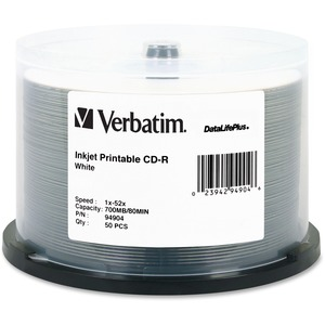 Verbatim DataLifePlus 94904 CD Recordable Media - CD-R - 52x - 700 MB - 50 Pack Spindle VER94904
