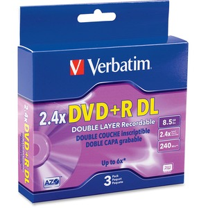 Verbatim 95014 DVD Recordable Media - DVD+R DL - 2.4x - 8.50 GB - 3 Pack Jewel Case 95014