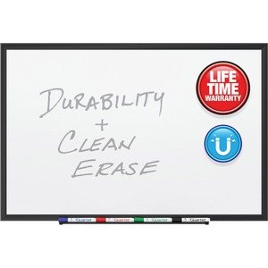 Acco Brands Corporation Quartet® Premium Duramax® Porcelain Magnetic Whiteboard, 4 X 3, Black Aluminum Frame - 48 (4 Ft) Width X 36 (3 Ft) Height - White Porcelain Surface - Black Aluminum Frame - Rectangle - Horizontal/vertical - 1 / Each