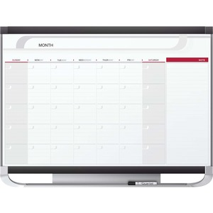 Acco Brands Corporation Quartet® Prestige® 2 Magnetic Monthly Calendar Board, 4 X 3, Total Erase® Surface - Monthly - 1 Month - Wall Mountable - Graphite, White - Steel - Erasable, Ghost Resistant, Stain Resistant, Magnetic, Durable, Mountable