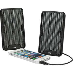 CYBER ACOUSTICS RECHARGEABLE STEREO 2.0 SPEAKER USB PORTABLE CLAMP MOQ8