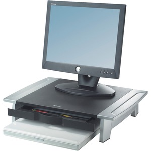 Fellowes Office Suites Monitor Riser - Up to 79lb CRT - Silver, Black - Desk-mountable