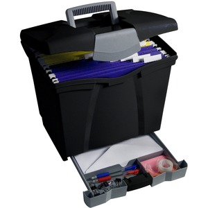 Portable File Boxes w/Supply Drawer