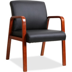 Black Leather Wood Frame Guest Chair