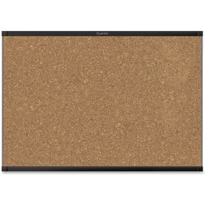 Acco Brands Corporation Quartet® Prestige® 2 Magnetic Cork Bulletin Board, 3 X 2, Black Finish Aluminum Frame - 24 Height X 36 Width - Brown Cork Surface - Black Aluminum Frame - 1 / Each
