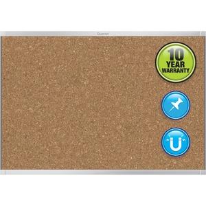 Acco Brands Corporation Quartet® Prestige® 2 Magnetic Cork Bulletin Board, 4 X 3, Silver Finish Aluminum Frame - 36 Height X 48 Width - Brown Cork Surface - Silver Aluminum Frame - 1 / Each