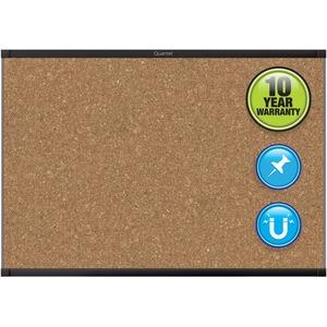 Acco Brands Corporation Quartet® Prestige® 2 Magnetic Cork Bulletin Board, 4 X 3, Black Finish Aluminum Frame - 36 Height X 48 Width - Brown Cork Surface - Black Aluminum Frame - 1 / Each