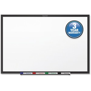 Acco Brands Corporation Quartet® Standard Whiteboard, 6 X 4, Black Aluminum Frame - 72 (6 Ft) Width X 48 (4 Ft) Height - White Melamine Surface - Black Aluminum Frame - Horizontal/vertical - 1 / Each - Taa Compliant