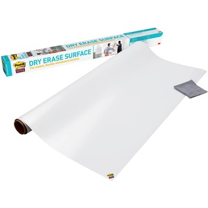 3M Post-it Self-stick Dry Erase Film Surface, 96 X 48, White - 48 (4 Ft) Width X 96 (8 Ft) Length - White - Rectangle - 1 / Pack