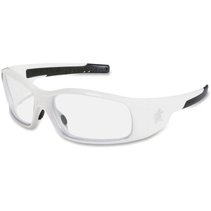 Mcr Safety Crews Swagger White Frame Safety Glasses - Scratch Resistant, Non-slip Temple, Heavy Duty, Flexible - Ultraviolet Protection - Polycarbonate Lens, Thermoplastic Rubber (Tpr) Frame, Polycarbonate Temple, Thermoplastic Rubber (Tpr) Nose Pad - Cle