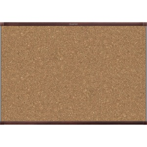Acco Brands Corporation Quartet® Prestige® 2 Magnetic Cork Bulletin Board, 3 X 2, Mahogany Finish Aluminum Frame - 24 Height X 36 Width - Brown Cork Surface - Mahogany Aluminum Frame - 1 / Each