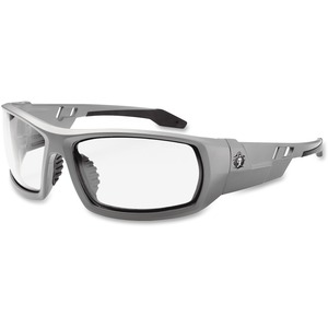 Tenacious Holdings, Inc Ergodyne Fog-off Clear Lens/gray Frm Safety Glasses - Durable, Flexible, Non-slip, Scratch Resistant, Anti-fog, Perspiration Resistant - Ultraviolet Protection - Polycarbonate Lens, Nylon Frame, Polycarbonate Temple - Gray - 1 Each
