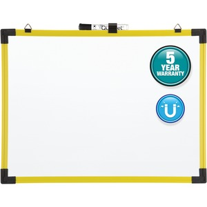 Acco Brands Corporation Quartet® Industrial Magnetic Whiteboard, 24 X 18, Yellow Frame - 24 (2 Ft) Width X 18 (1.5 Ft) Height - White Painted Steel Surface - Bright Yellow Plastic Frame - Rectangle - Horizontal - 1 Each