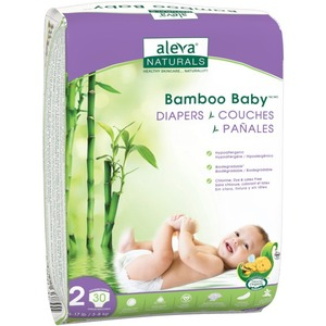 Aleva Naturals Bamboo Baby Diapers Size 2 30 Count