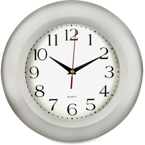 "Round Frame Wall Clock, 11"", Silver"