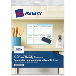 "Dry Erase Weekly Calendar, 24821, Removable, Peel & Stick, 11"" x"