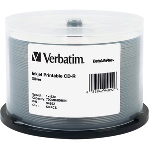 Verbatim DataLifePlus 94892 CD Recordable Media - CD-R - 52x - 700 MB - 50 Pack Spindle VER94892