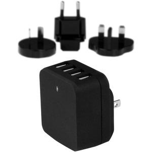 StarTech 4-Port USB Wall Charger - International Travel - 34W/6.8A - Black