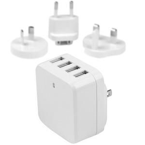 StarTech 4-Port USB Wall Charger - International Travel - 34W/6.8A - White