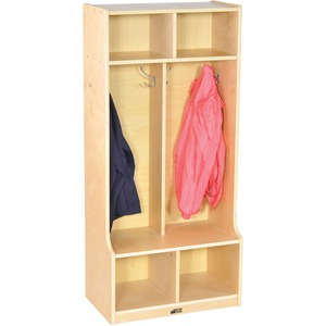 Image for Early Childhood Resources ECR4KIDS 2-section Bench Coat Locker - 4 X Coat - 2 Compartment(S) - 48 Height X 22 Width X 13 Depth - Natural - Birch - 1EACH
