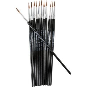 Charles Leonard, Inc Cli Water Color Brush - 12 Brush(Es) - 0.50 Bristle - No. 3 Hardwood - Aluminum Ferrule