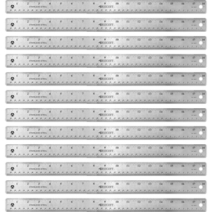 Acme United Corporation Westcott Stainless Steel Rulers - 18 Length 1 Width - 1/16, 1/32 Graduations - Metric, Imperial Measuring System - Stainless Steel - 12 / Box - Stainless Steel