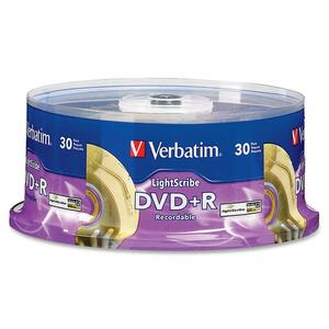 Verbatim 95091 DVD Recordable Media - DVD+R - 16x - 4.70 GB - 30 Pack Spindle VER95091