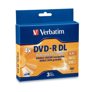Verbatim 95165 DVD Recordable Media - DVD-R DL - 4x - 8.50 GB - 3 Pack Jewel Case VER95165