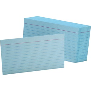 "Esselte Colored Ruled Index Card - 3"" x 5"" - 90lb - 100 / Pack - Blue"