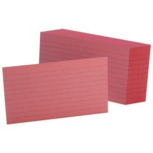 "Esselte Colored Ruled Index Card - 3"" x 5"" - 90lb - 100 / Pack - Cherry"