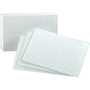 "Esselte Grid Index Card - 3"" x 5"" - 90lb - 100 / Pack - White"