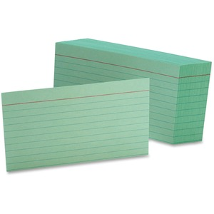 "Esselte Colored Ruled Index Card - 3"" x 5"" - 90lb - 100 / Pack - Green"