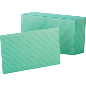 "Esselte Colored Ruled Index Card - 4"" x 6"" - 90lb - 100 / Pack - Green"