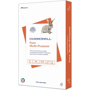 "Hammermill Fore High-quality Multipurpose Paper - Legal - 8.5"" x 14"" - 20lb - 96 GE/112 ISO (D65) Brightness - 500 / Ream - White"