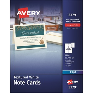 "Avery Matte Textured Note Cards - 4.25"" x 5.5"" - Matte - 50 / Box - White"