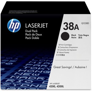 HP 38A 2-pack Black Original LaserJet Toner Cartridges HEWQ1338D