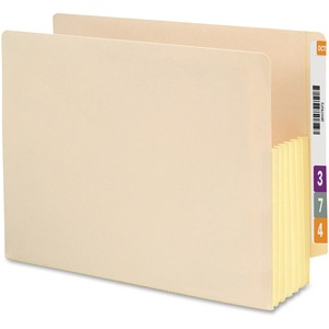 "Smead TUFF Pocket Recycled End Tab File Pocket - Letter - 8.5"" x 11"" - Straight Tab Cut - 5.25"" Expansion - 1200 Sheet - 10 / Box - Manila"