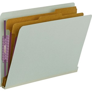 "Smead End Tab Classification Folder with Divider - Letter - 8.5"" x 11"" - 2 Divider - 2"" Expansion - 2"" Capacity - 10 / Box - 25pt. - Gray, Green"