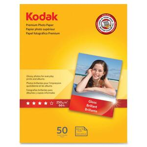 "Kodak Premium Photo Paper - Letter - 8.5"" x 11"" - Glossy - 50 Sheet - White"