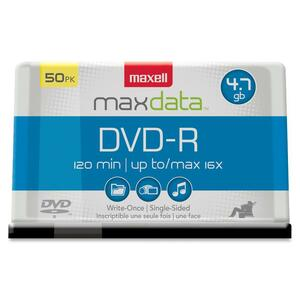 Maxell 16x DVD-R Media - 4.7GB - 120mm Standard - 50 Pack Cake Box