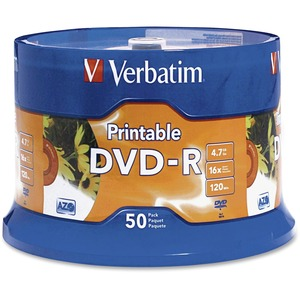 VERBATIM - AMERICAS LLC DVD-R 4.7GB 16X BRANDED WHITE INKJET 50PK SPINDLE