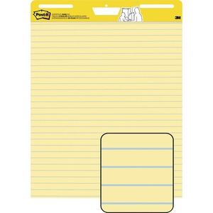 "Post-it Self-Stick Easel Pad - 30 Sheet(s) - Ruled - 25"" x 30"" - 2 / Carton - Yellow"