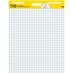 3M Post-it Self-stick Easel Pads, 25 In X 30 In, White With Faint Grid - 30 Sheets - Stapled - Feint Blue Margin - 18.50 Lb Basis Weight - 25 X 30 - White Paper - Self-adhesive, Repositionable, Resist Bleed-through